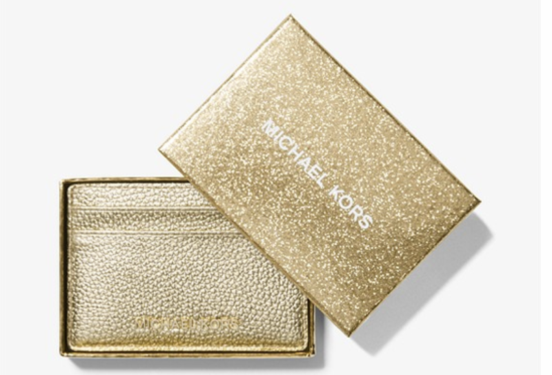 Metallic pebbled leather card case, $99. PHOTO: Michael Kors