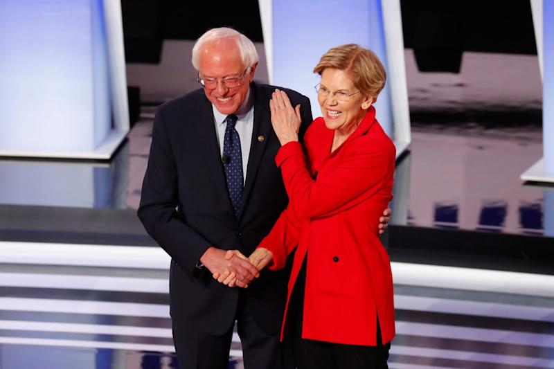 Sen. Bernie Sanders, I-Vt., and Sen. Elizabeth Warren, D-Mass., will be among 10 candidates on the debate stage in Houston on Sept. 12, 2019.