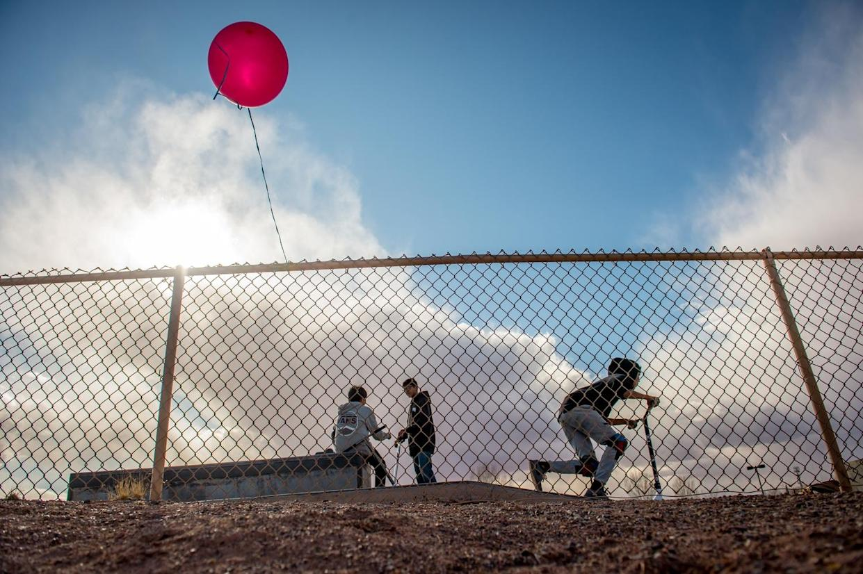 Children play in Tuba City. (Photograph by Mary F. Calvert)