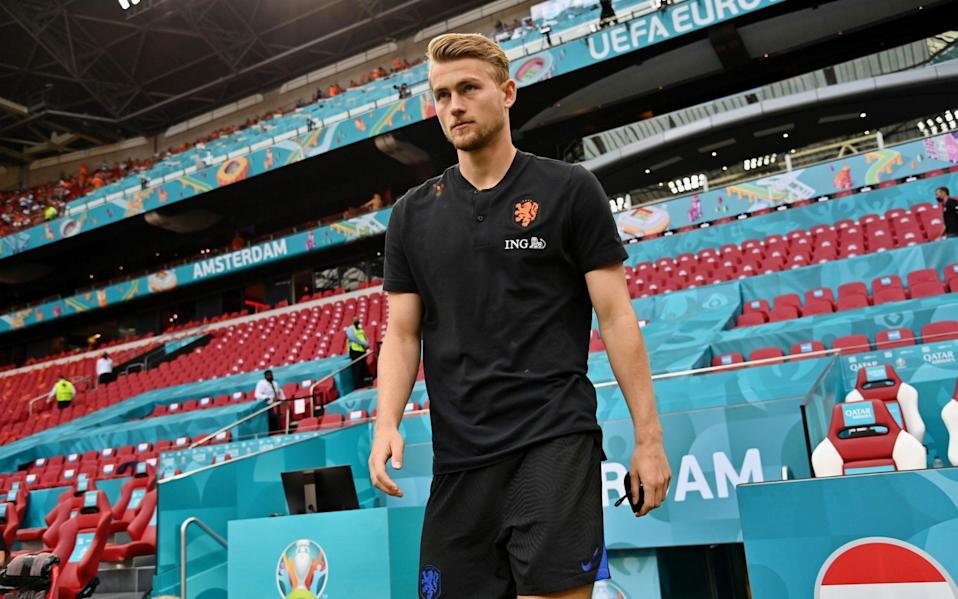 Matthijs de Ligt walks out onto the pitch ahead of the warm-up - GETTY IMAGES