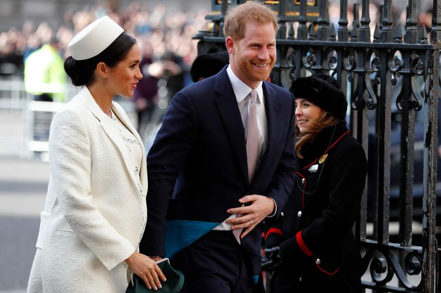 Britain's Prince Harry and Meghan, the Duchess of Sussex arrive to attend the Commonwealth Service at Westminster Abbey on Commonwealth Day in London. (Image: AP)