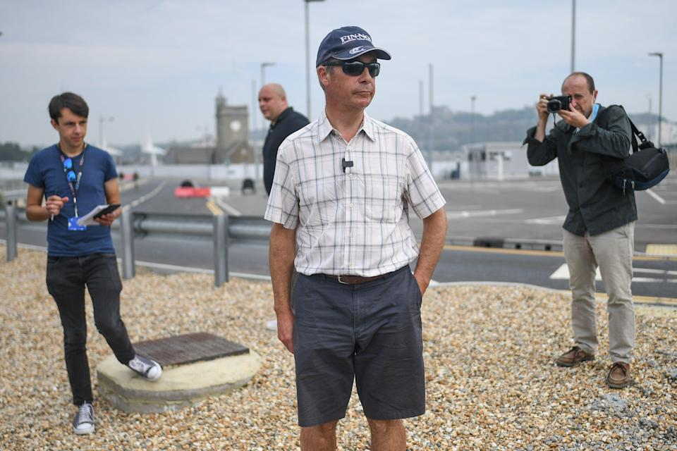 Nigel Farage in Dover last summer. His Covid claims were swiftly shot down by the Home Office (Getty Images)