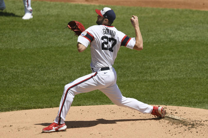 Chicago White Sox starter Lucas Giolito delivers a pitch during the first inning of a baseball game against the Baltimore Orioles, Sunday, May 30, 2021, in Chicago. (AP Photo/Paul Beaty)