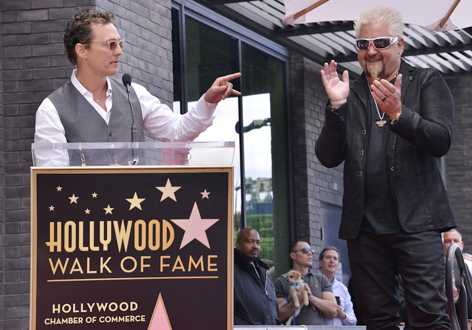 (L-R) Matthew McConaughey speaking at Guy Fieri's Star On The Hollywood Walk Of Fame Ceremony held in front of Eastown in Hollywood, CA on Wednesday, May 22, 2019. (Photo By Sthanlee B. Mirador/Sipa USA)