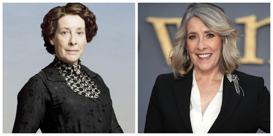 <p>British actress Phyllis Logan looks almost nothing like her character, Mrs. Hughes, on <em>Downton Abbey</em>. Mrs. Hughes tends to be more straight-laced, tidy, and looks super conservative, while Logan always looks trendy and fresh on the red carpet—and she looks a lot younger than Mrs. Hughes, too! </p>