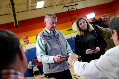Republican candidate for Governor of Virginia Ed Gillespie checks in to vote at Washington Mill Elementary School in Alexandria, Virginia, U.S., November 7, 2017. REUTERS/Aaron P. Bernstein