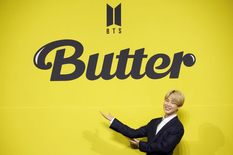 K-pop boy band BTS member Jimin poses for photographs during a photo opportunity promoting their new single 'Butter' in Seoul