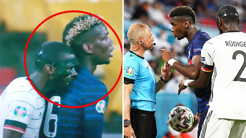 Antonio Rudiger (pictured left) allegedly took a bite of Paul Pogba before Pogba (pictured right) complained to the referee.