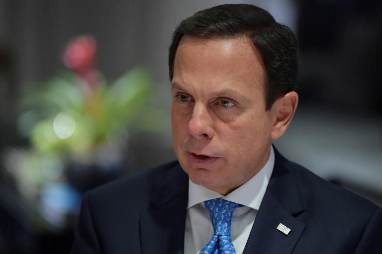 Governor Joao Doria speaks during an interview with AFP in Sao Paulo on March 26