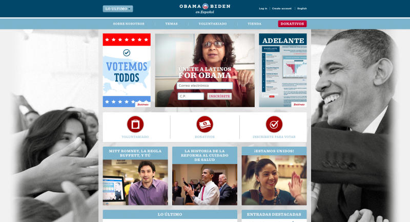 This image from the barackobama.com website shows the Spanish language version of the site. President Barack Obama's re-election team is running upbeat ads on Spanish-language stations in pivotal election states, and that also available through his Spanish language website, a sharp contrast to the hard-hitting commercials in English that the incumbent's campaign is airing against Republican rival Mitt Romney. With the lighter tone, Obama hopes to shore up what polls indicate is a large lead over Romney among Hispanics. They are the nation's fastest growing minority group, usually a reliable Democratic voting bloc that's causing consternation for Republicans trying to position their party for the future. (AP Photo/barackobama.com)