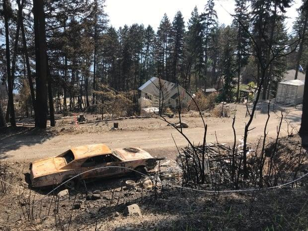 Over 75 homes were destroyed or damaged by the White Rock Lake fire in August. (Brady Strachan / CBC - image credit)