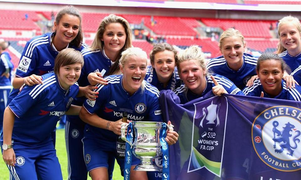 Katie Chapman holds the FA Cup after Chelsea's 2015 win. Hayes, she says, searches for 'a good person who you can trust and is going to fight for you'.