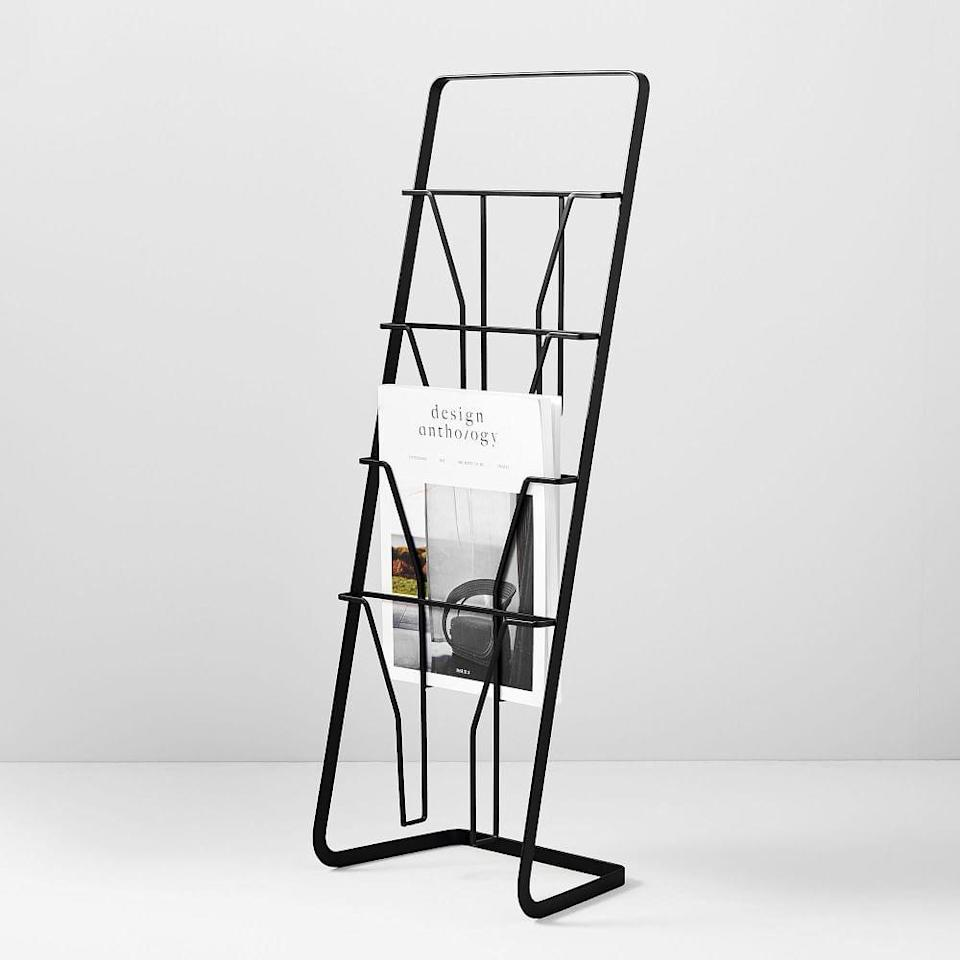 <p>This <span>Yamazaki Tower Magazine Rack</span> ($38) looks so sleek and modern.</p>
