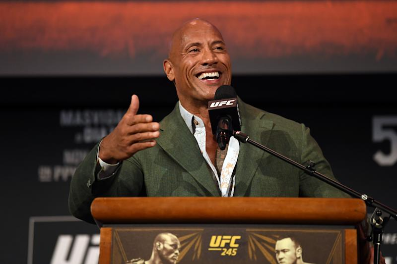 Dwayne 'The Rock' Johnson speaks on stage during the UFC 244 weigh-ins on November 1, 2019. (Photo by Josh Hedges/Zuffa LLC via Getty Images)