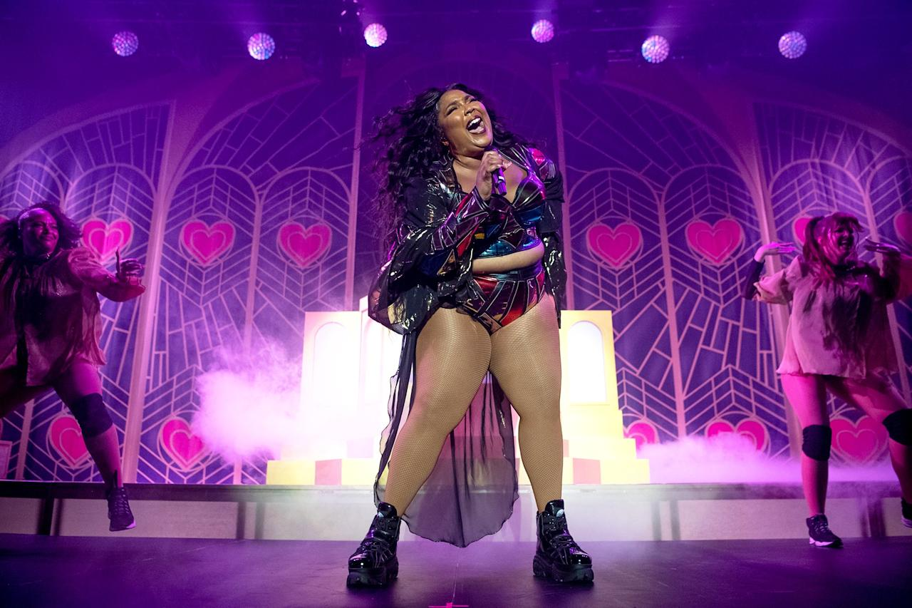Lizzo performs onstage during the We Can Survive concert in Los Angeles on Friday.