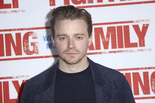 Actor Jack Lowden poses for photographs upon arrival at the Uk Premiere of the film, 'Fighting with my Family' at a central London cinema , Monday, Feb. 25, 2019. (Photo by Joel C Ryan/Invision/AP)