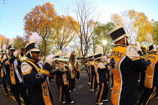 <p>The Prairie View A&M Marching Storm from Prairie View, Texas, marches in the 91st Macy's Thanksgiving Day Parade in New York, Nov. 23, 2017. (Photo: Gordon Donovan/Yahoo News) </p>