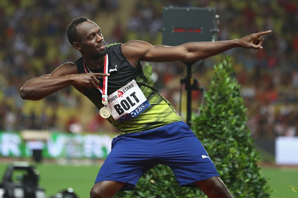 Usain Bolt poses with a gold medal during the IAAF Diamond League Meeting Herculis on July 21, 2017 in Monaco, Monaco.