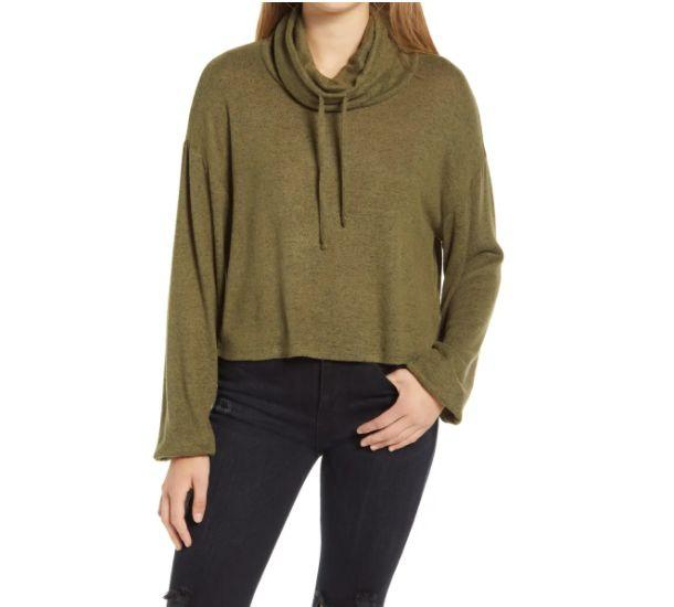 """This <a href=""""https://fave.co/3ju7fgB"""" target=""""_blank"""" rel=""""noopener noreferrer"""">BP. Drawstring Cowl Neck Hacci Sweater</a> is available in three colors and sizes XXS to XXL. Find it <a href=""""https://fave.co/3ju7fgB"""" target=""""_blank"""" rel=""""noopener noreferrer"""">on sale for $20</a> (normally $29) at Nordstorm."""
