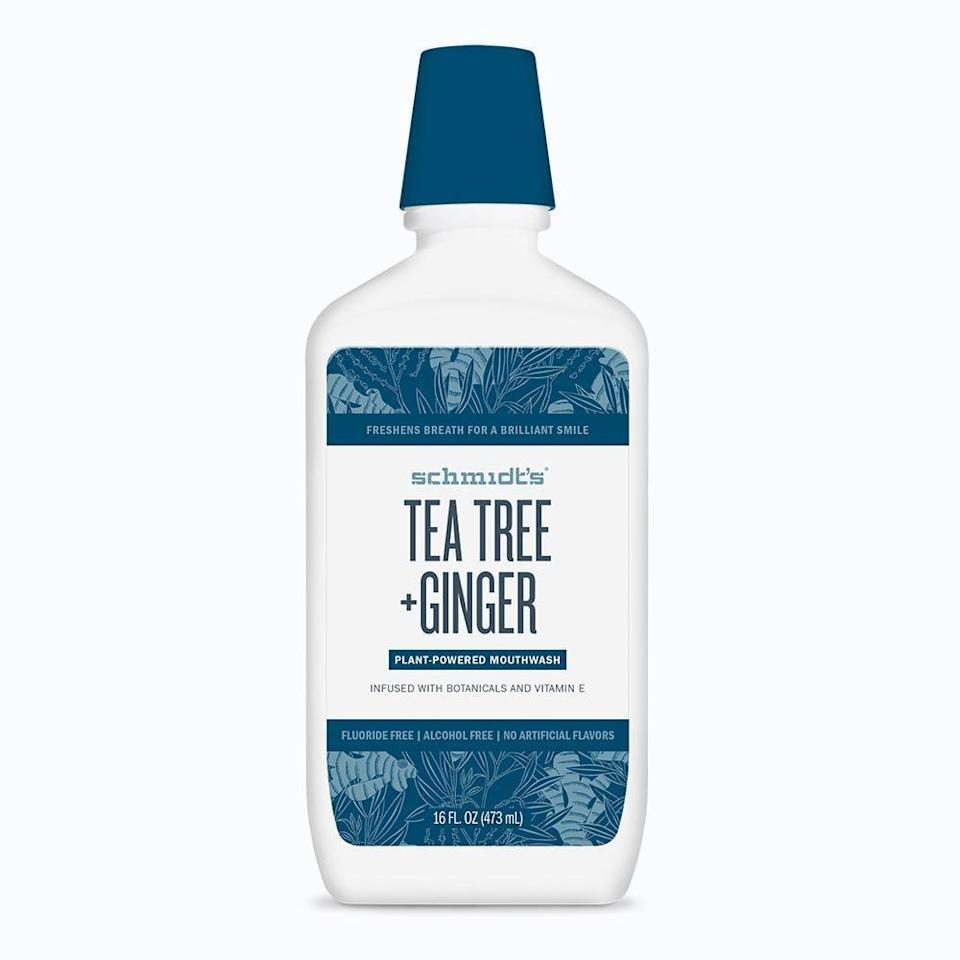 <p><span>Schmidt's Tea Tree and Ginger Mouthwash</span> ($10) is a vegan, cruelty-free formula made of coconut oil and botanical extracts like goji berry and pomegranate for a gentler rinse.</p>
