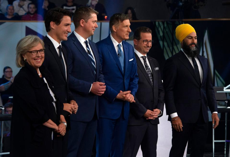 (From L) Green Party leader Elizabeth May, Liberal leader Justin Trudeau, Conservative leader Andrew Scheer, People's Party of Canada leader Maxime Bernier, Bloc Quebecois leader Yves-Francois Blanchet and NDP leader Jagmeet Singh pose for a photograph before the Federal Leaders Debate in Gatineau, Quebec on October 7, 2019. (Photo by Sean Kilpatrick / POOL / AFP) (Photo by SEAN KILPATRICK/POOL/AFP via Getty Images)
