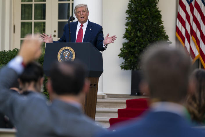 FILE - In this July 14, 2020, file photo President Donald Trump speaks during a news conference in the Rose Garden of the White House in Washington. (AP Photo/Evan Vucci, File)
