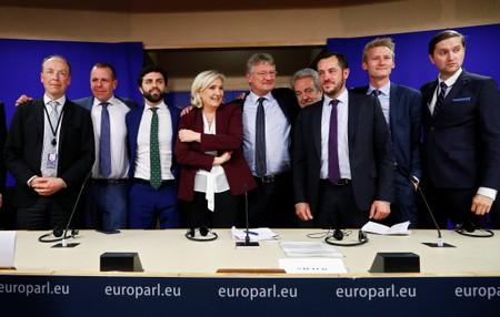 Finnish MEP Halla-Aho, Austrian MEP Vilimsky, Italian MEP Zanni, French far-right National Rally party leader Le Pen, German MEP Meuthen, Belgian MEP Annemans and French MEP Bay, Danish MEP Kofod and Estonian MEP Madison pose in Brussels