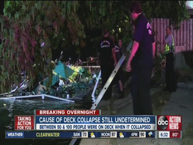 The outdoor deck at a popular Miami-area sports bar partially collapsed during the NBA Finals, sending dozens of people into the shallow waters of Biscayne Bay.