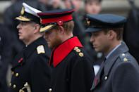 <p>It isn't just Meghan breaking rules; when Prince Harry appeared alongside his father, Prince Charles, and his brother, Prince William, to lay wreaths on Remembrance Day, he kept his full beard while on official duty in a British Army uniform.</p>