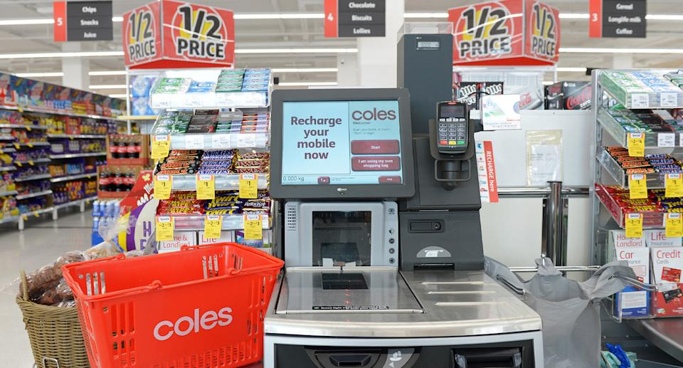A Coles self service checkout is pictured.