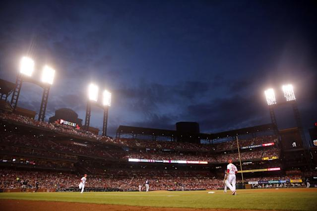 A woman was hit by the stray bullet during Tuesday's Cardinals game. (AP)