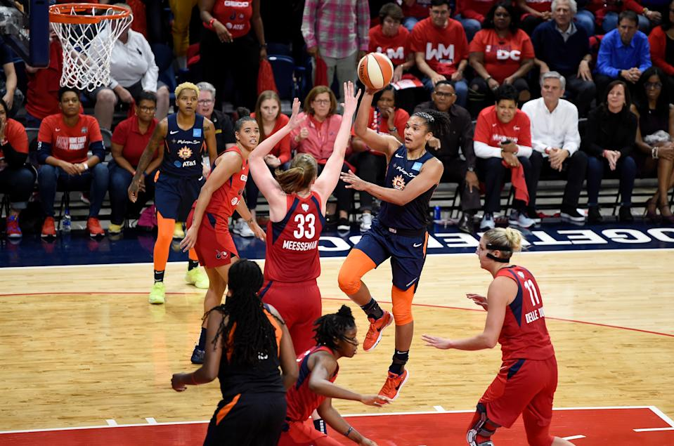 WASHINGTON, DC - OCTOBER 10:  Alyssa Thomas #25 of the Connecticut Sun shoots the ball against the Washington Mystics in Game 5 of the 2019 WNBA Finals at St Elizabeths East Entertainment & Sports Arena on October 10, 2019 in Washington, DC.  (Photo by G Fiume/Getty Images)