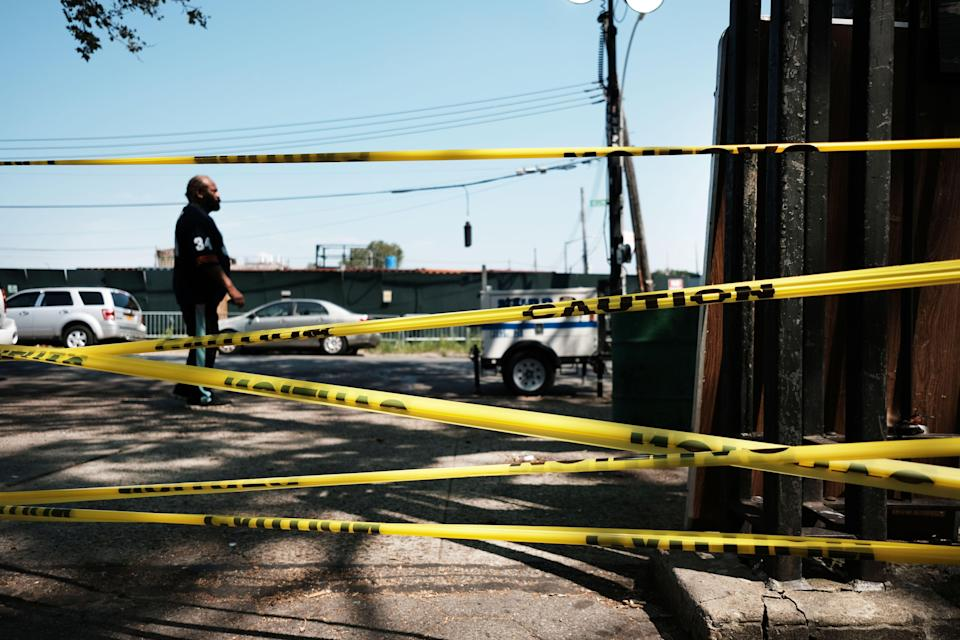 <p>Two officers were shot and injured in Queens on Tuesday. Shootings like this one in Brownsville (pictured) are on the rise in the city</p> (Getty Images)