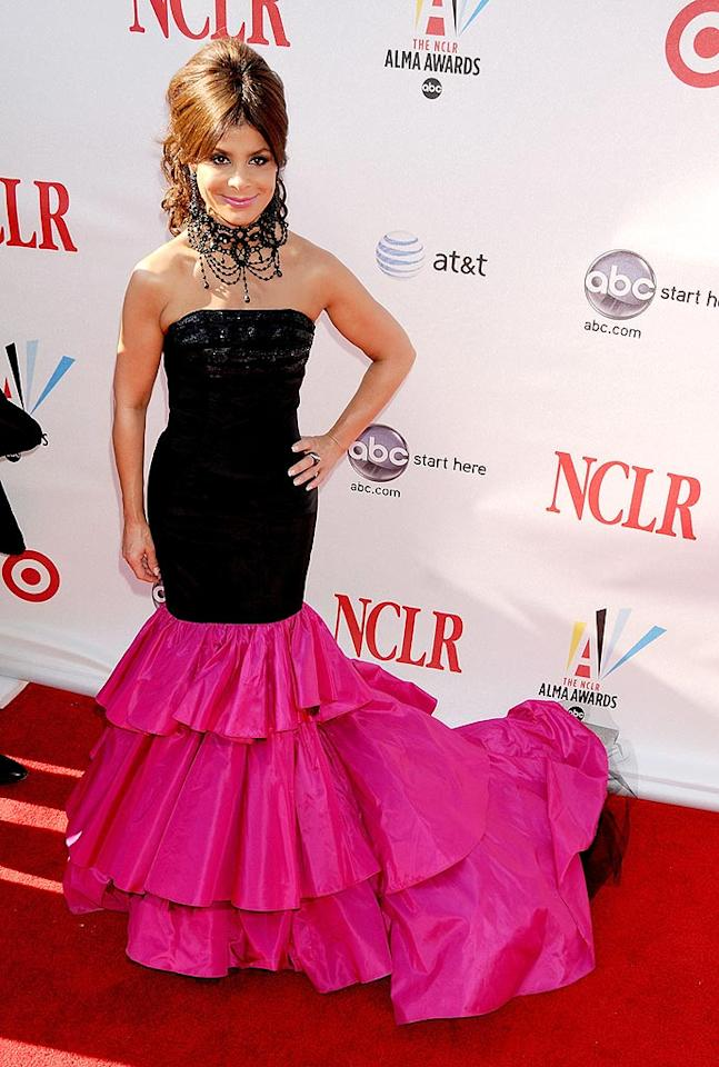"Everything about Paula Abdul's look -- the hair, the necklace, the hot pink taffeta train -- was over the top. Gregg DeGuire/<a href=""http://www.wireimage.com"" target=""new"">WireImage.com</a> - August 17, 2008"