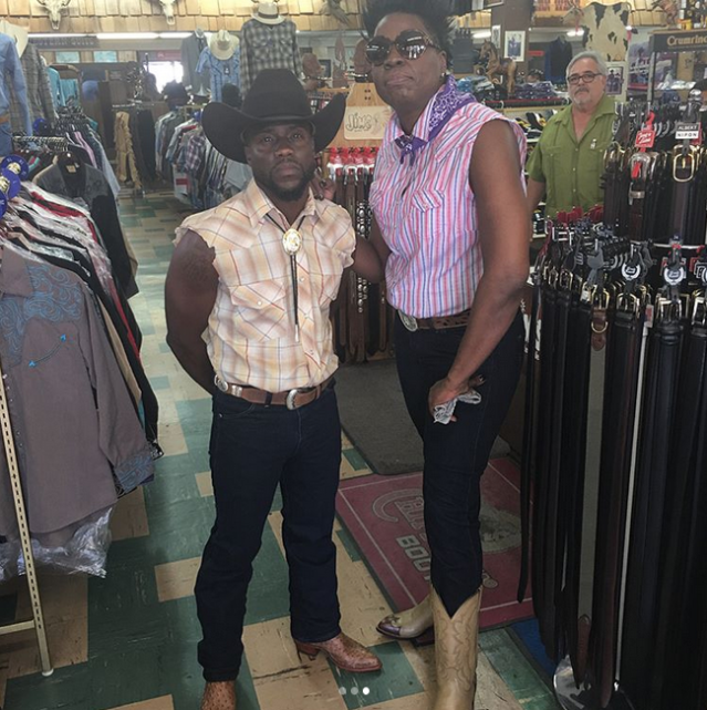 """<p>""""Yo this is about to be hilarious!!"""" the <em>SNL</em> star captioned this pic, with a western-clad Kevin Hart, as they teased an upcoming by unspecified collaboration. We have no doubt they'll have us in stitches.<br>(Photo: <a href=""""https://www.instagram.com/p/BYHOmQslqsQ/?hl=en&taken-by=lesdogggg"""" rel=""""nofollow noopener"""" target=""""_blank"""" data-ylk=""""slk:Leslie Jones via Instagram"""" class=""""link rapid-noclick-resp"""">Leslie Jones via Instagram</a>)<br><br></p>"""