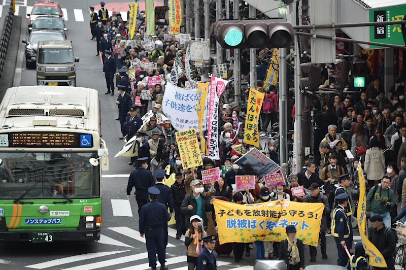 Refugees from Fukushima attend an anti-nuclear protest in Tokyo (AFP Photo/Kazuhiro Nogi)