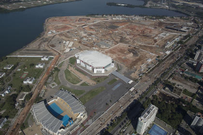 This June 27, 2014 aerial view photo shows Olympic Park under construction in Rio de Janeiro. (AP)
