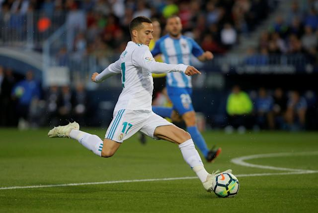 Soccer Football - La Liga Santander - Malaga CF vs Real Madrid - La Rosaleda, Malaga, Spain - April 15, 2018 Real Madrid's Lucas Vazquez in action REUTERS/Jon Nazca