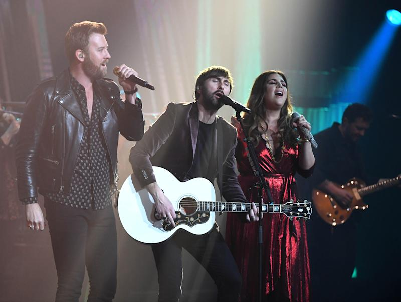 Lady Antebellum performing on stage