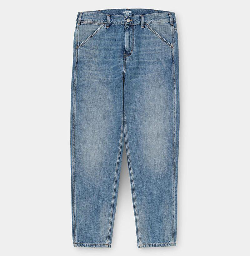 """<p><strong>Carhartt WIP</strong></p><p>carhartt-wip.com</p><p><strong>$148.00</strong></p><p><a href=""""https://us.carhartt-wip.com/products/jacob-pant-blue-worn-bleached-284"""" rel=""""nofollow noopener"""" target=""""_blank"""" data-ylk=""""slk:Buy"""" class=""""link rapid-noclick-resp"""">Buy</a></p>"""