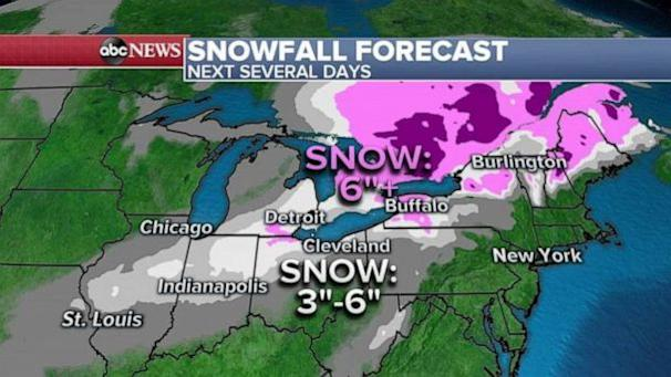 PHOTO: Not too much snow will fall in the Northeast but the highest snowfall totals will be in West Virginia and central Pennsylvania where some areas could see 3 to 4 inches of snow. (ABC News)