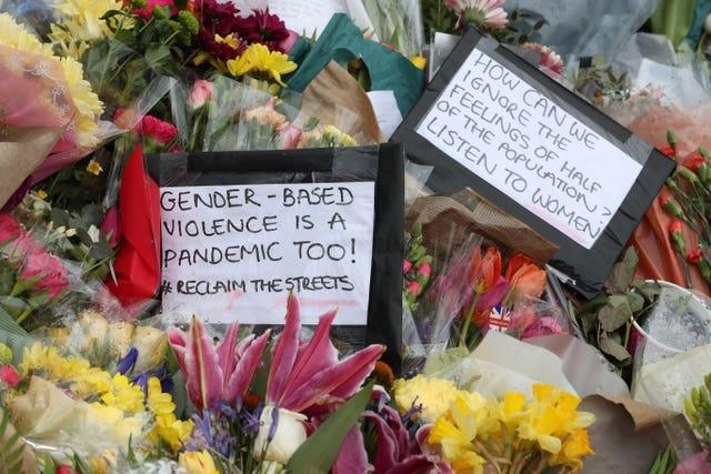 Floral tributes left at the bandstand in Clapham Common, London, for murdered Sarah Everard (Jonathan Brady/PA)