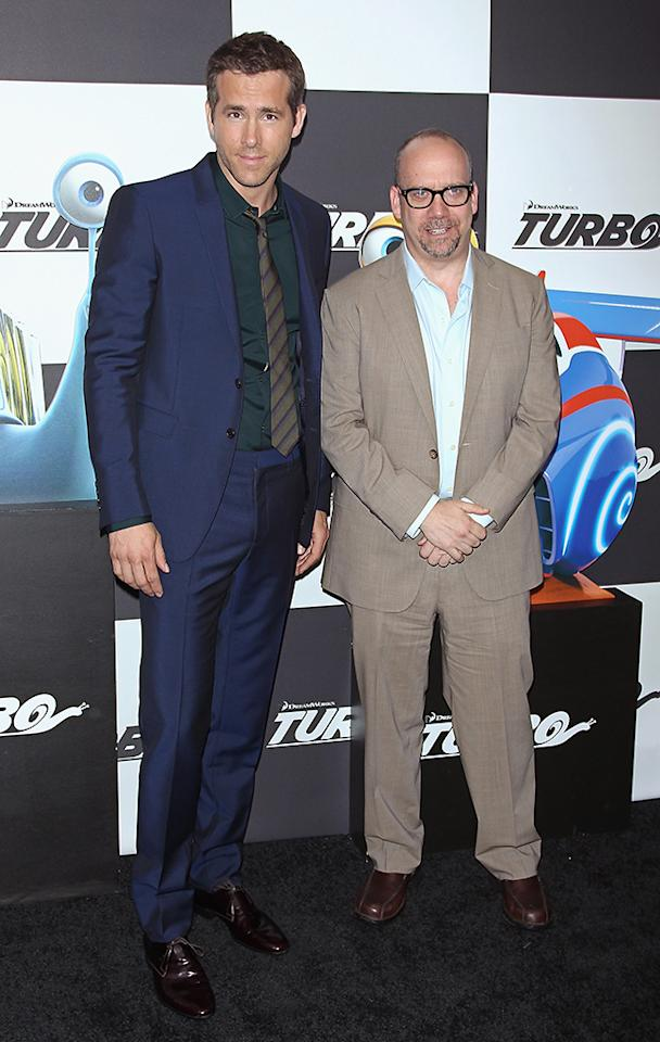 "NEW YORK, NY - JULY 09:  Actors (L-R) Ryan Reynolds and Paul Giamatti attend the ""Turbo"" New York Premiere at AMC Loews Lincoln Square on July 9, 2013 in New York City.  (Photo by Jim Spellman/WireImage)"