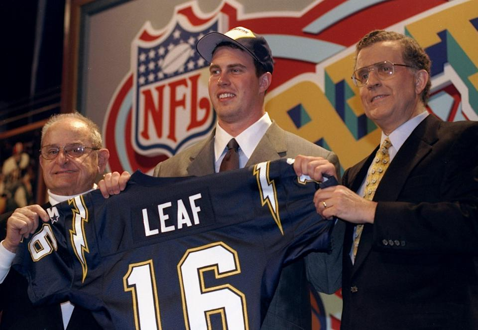 Drafting Ryan Leaf No. 2 overall in 1998 proved to be a disaster for the Chargers. (Getty)