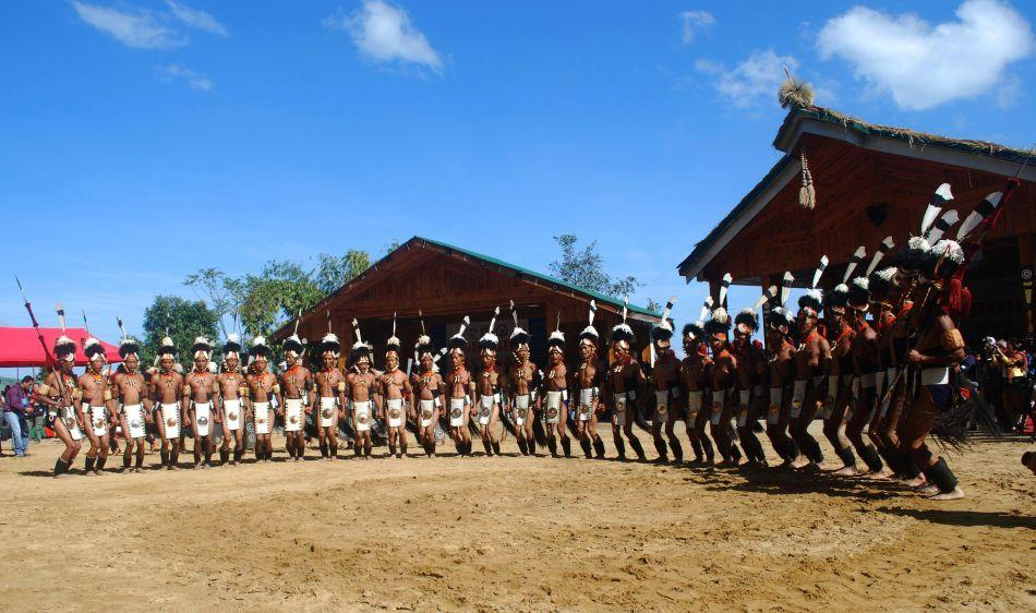 Naga tribesmen from Yimchunger perform a folk dance on the first day of the state annual Hornbill Festival at the Naga heritage village of Kisama, some 15 km from Kohima, capital of India's northeastern state of Nagaland. The weeklong Hornbill Festival of Nagaland, which celebrates the cultural heritage of the Naga people, runs annually from December 1-7.