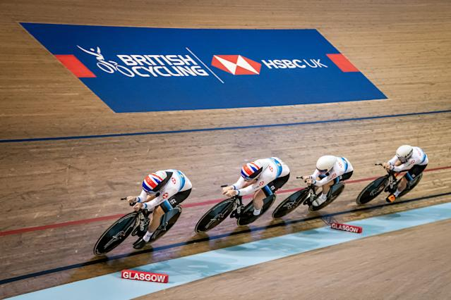 Elinor Barker, Katie Archibald, Ellie Dickinson and Neah Evans of Great Britain during the Women's team pursuit