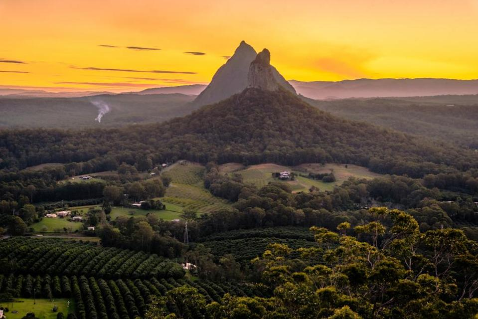 The view at sunset from the top of Mt Ngungun, in the Glass House Mountains of Queensland