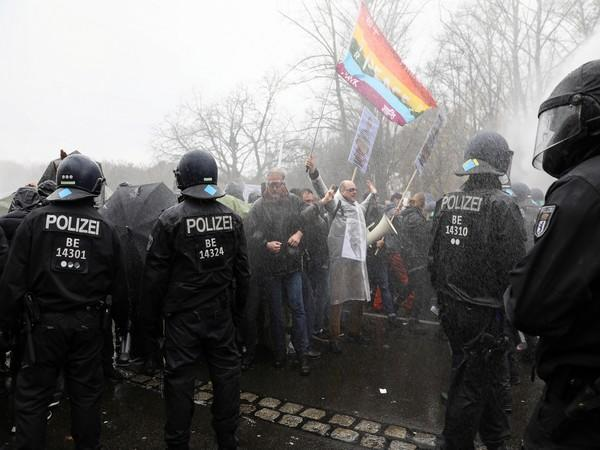 Protesters had gathered near the Brandenburg Gate in Berlin to participate in an illegal protest rally against the law that underpins COVID-19 restrictions. (Photo credit: Reuters)