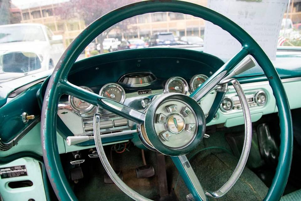 The push-button transmission was designed into the steering column of this late 1950s Ford Edsel model.
