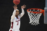 Alabama guard Jordan Lewis shoots during the first half of a college basketball game against North Carolina in the first round of the women's NCAA tournament at the Alamodome in San Antonio, Monday, March 22, 2021. (AP Photo/Eric Gay)